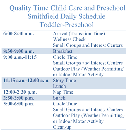 Daily Schedule Smithfield VA child care
