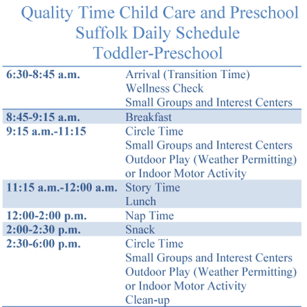 Daily Schedule for Suffolk VA day care